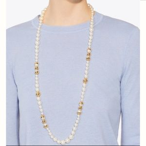 Tory Burch NWT Capped Crystal Pearl Long Necklace